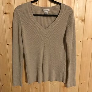 Calvin Klein Ribbed V-Neck Sparkly Holiday Sweater